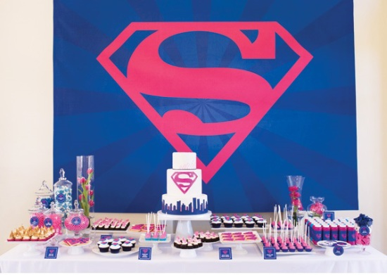 Supergirl birthday party in pink amp blue birthday party ideas amp shops