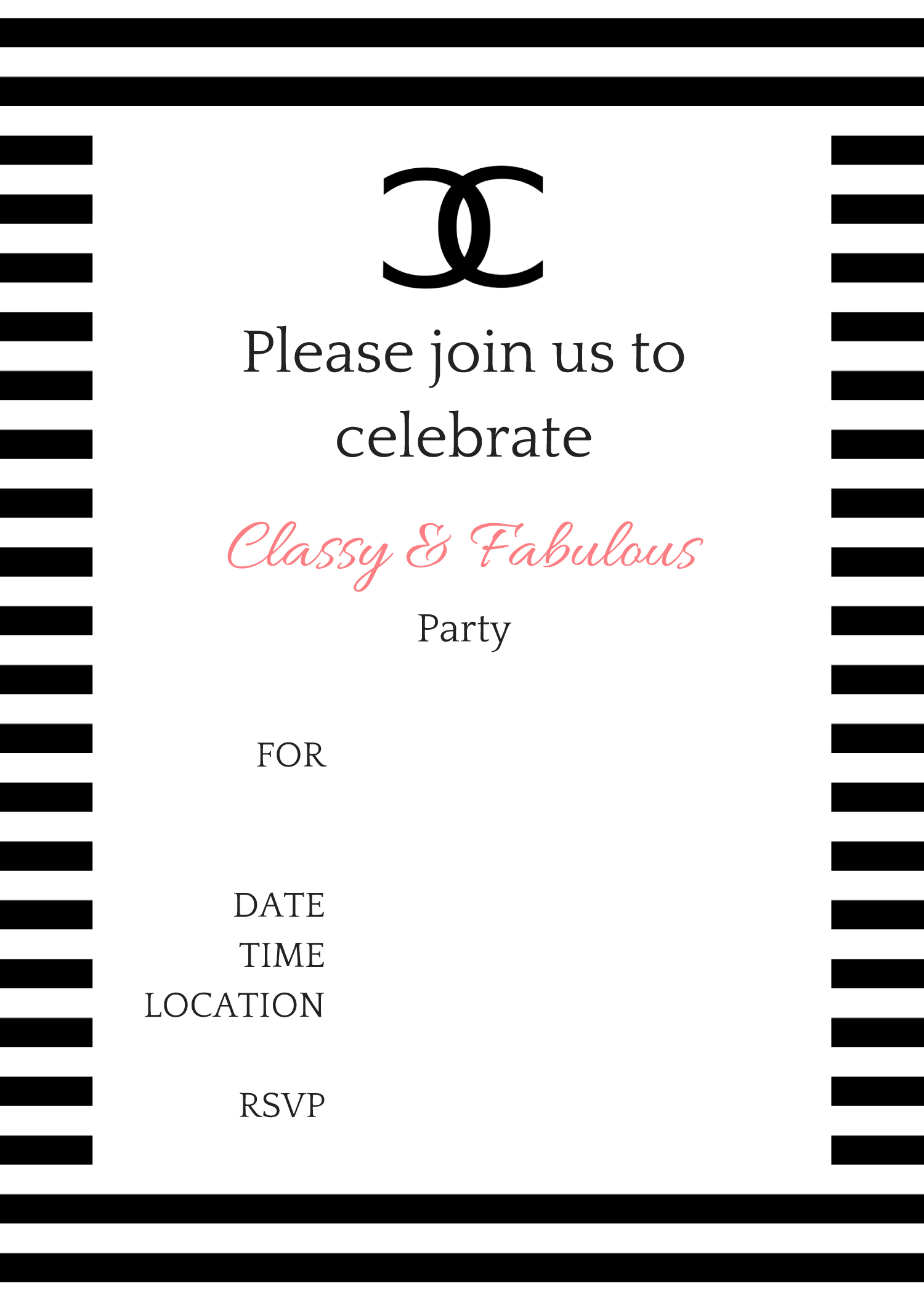 black and white birthday party invitations - Forte.euforic.co