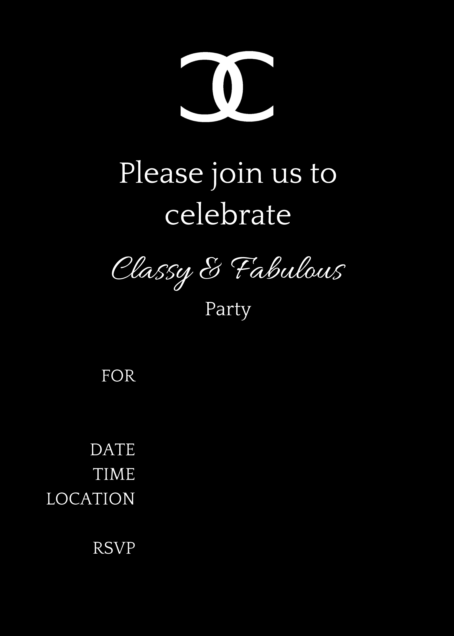 COCO Chanel Party Ideas Birthday Party Ideas Shops – Black and White Themed Party Invitations