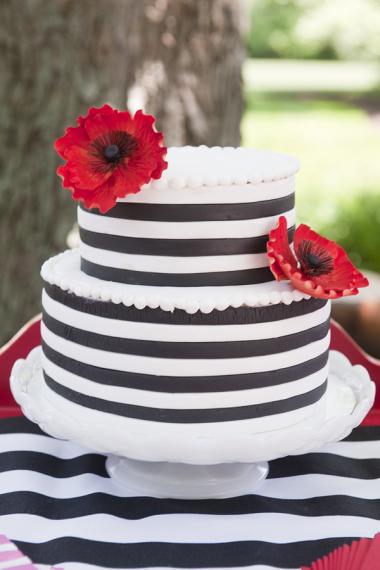 Poppy party with black white stripes birthday