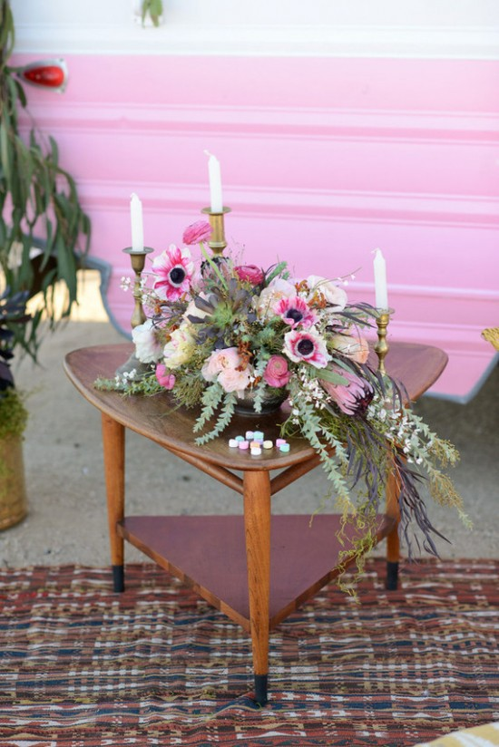 outdoor vintage pink camper birthday party