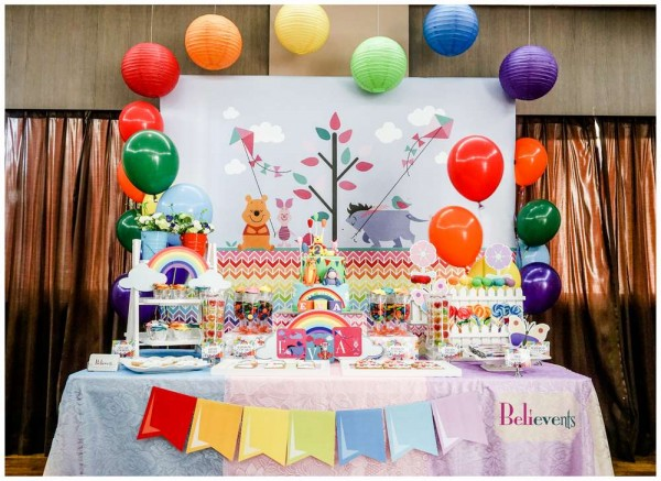 Colorful Winnie The Pooh Birthday Birthday Party Ideas