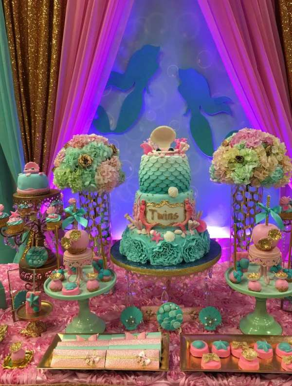 Twins under the sea mermaid party birthday party ideas for Baby shower decoration ideas for twin girls
