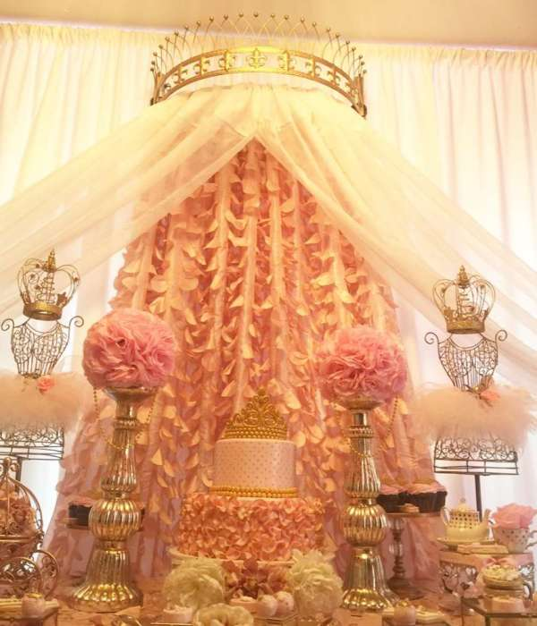Golden White And Pink Princess Birthday Party Birthday
