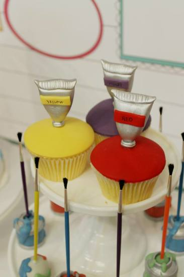 Modern Art Birthday Party cupcakes