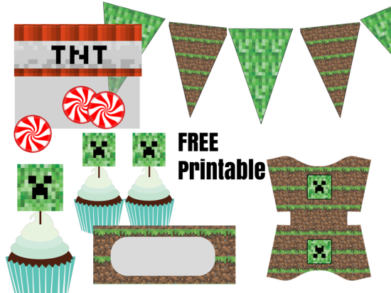 It is an image of Free Minecraft Printable Cutouts with birthday