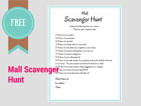 mall photo scavenger hunt party ideas - FREE Printable Scavenger Hunt Games Birthday Party Ideas