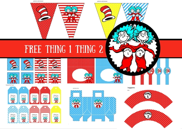 photo relating to Thing 1 and Thing 2 Printable named No cost Dr Seuss Issue 1 Point 2 Twins Social gathering Printable