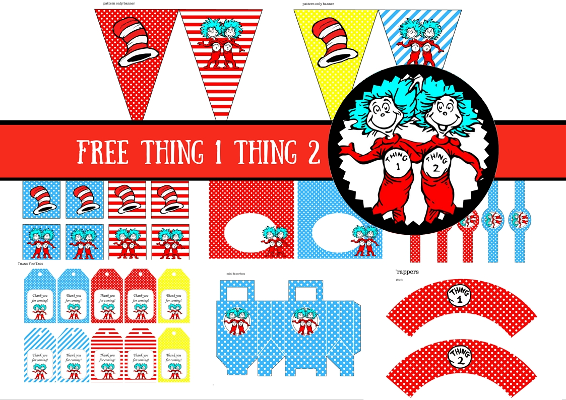 Free Dr Seuss Thing 1 Thing 2 Twins Party Printable Birthday Party Ideas For Kids
