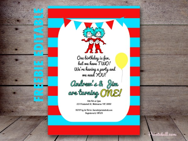 Thing 1 2 Twins Party Printable